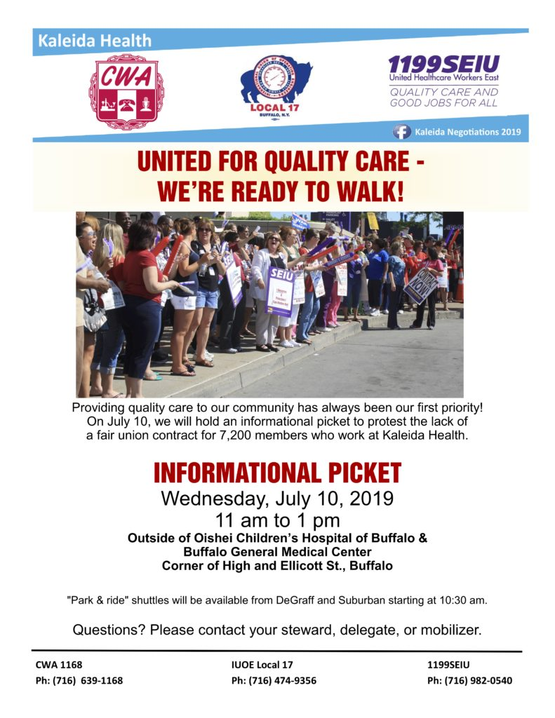 Announcement - Informational Picket 7/10/19 - CWA Local 1168