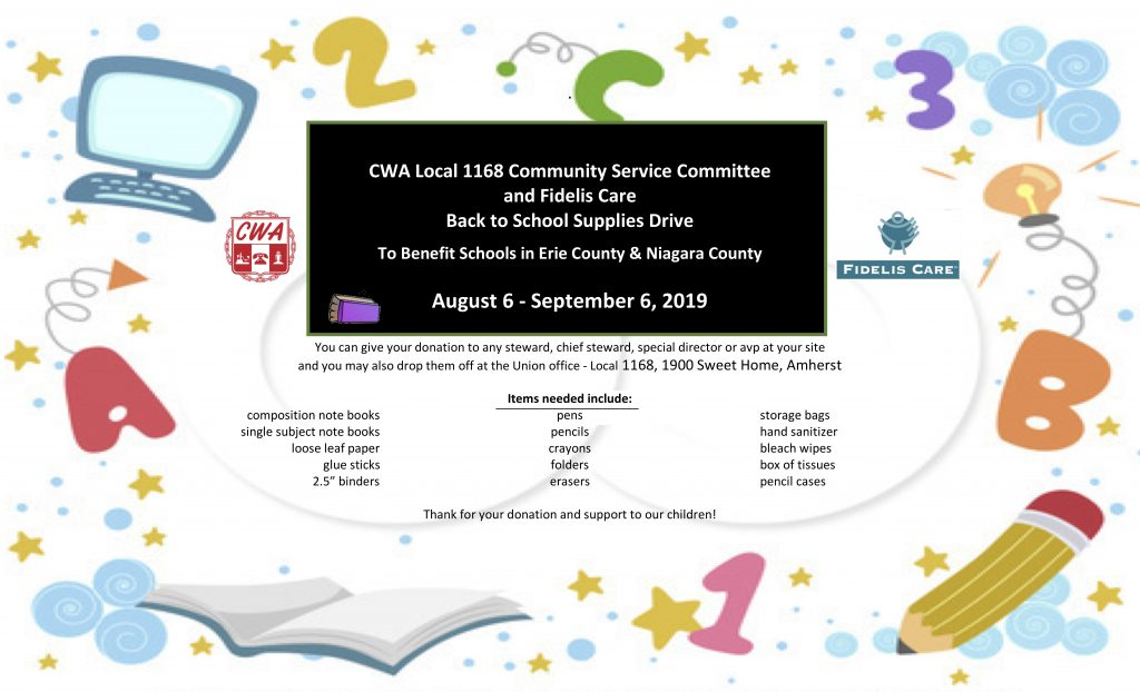 Back to School Supplies Drive - CWA Local 1168